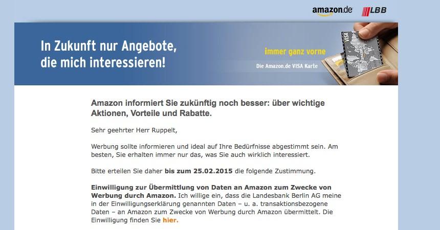 Landesbank Berlin gibt Kontodaten an Amazon weiter