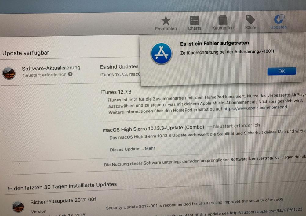 Apple iTunes App Store Fehler minus -1001
