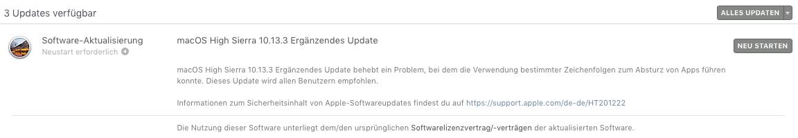 Software-Aktualisierung macOS High Sierra 10.13.3 Ergänzendes Update