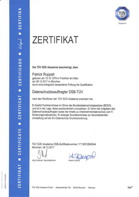 Patrick Ruppelt ist TÜV zertifizierter Datenschutzbeauftragter.