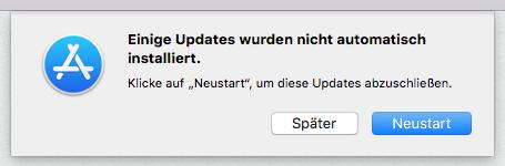 mac OS X Einige Updates wurden nicht installiert