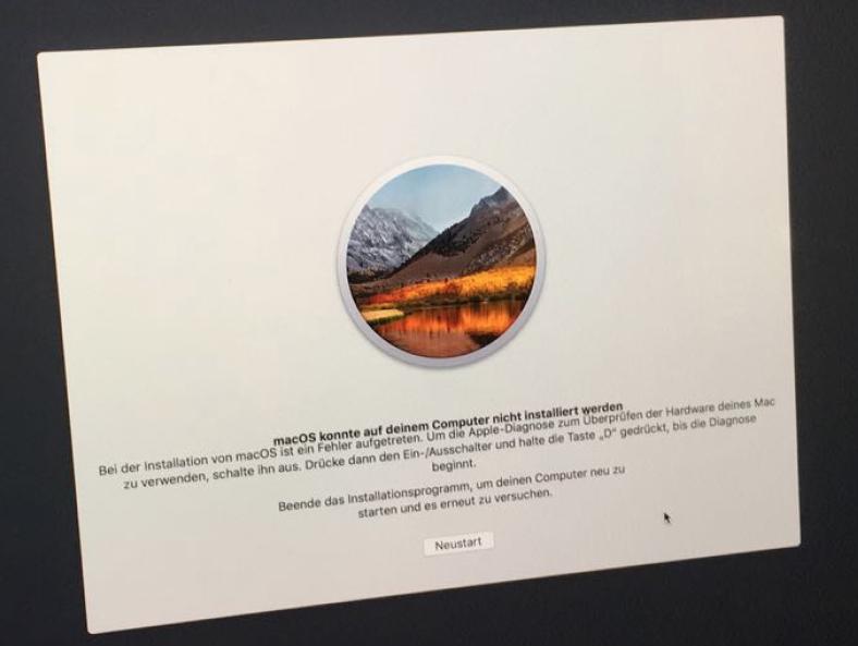macOS konnte auf deinem Computer nicht installiert werden Bei der Installation ist ein Fehler aufgetreten